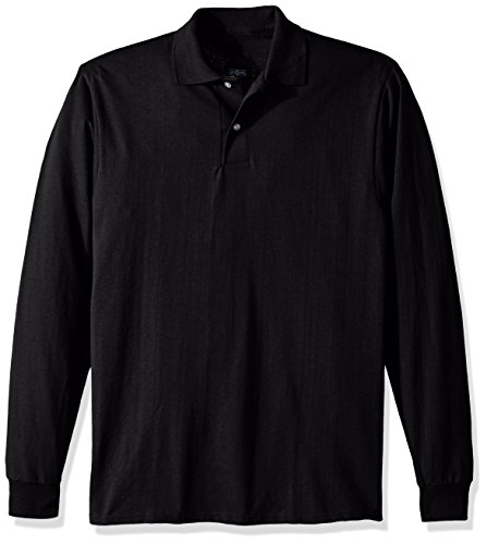 Jerzees Men's Spot Shield Long Sleeve Polo Sport Shirt, Black, 2X-Large 3 Button Polo Collar