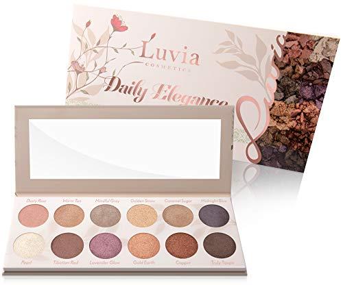 Lidschatten-Palette Glitzer, Shimmer, Bunt - Luvia Daily Elegance Make-Up - 12 Glamouröse Schimmer Farben In Limitierter Geschenkbox - Vegan