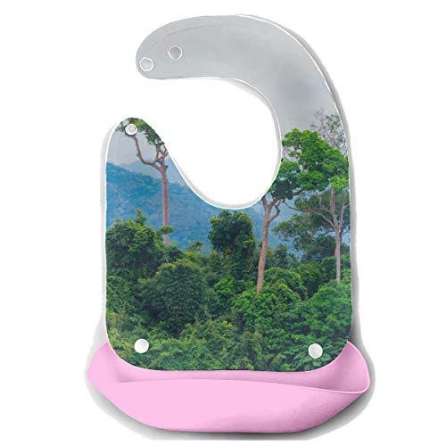 N\A Baberos impermeables para niños Amazon Primeval Jungle Delantal de alimentación desmontable de silicona Toalla de ratón Alimentación para bebés Bib Dribble Drool Bib Bib para bebés
