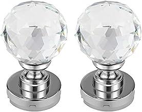 BZM 2 stuks kristallen deurgrepen, deurgreep, glas, facetgeslepen, kristalglas, diameter 60 mm, met schroefbevestigingen, ...