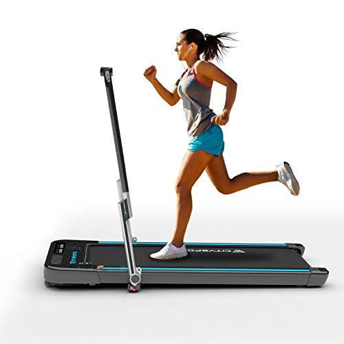 Cinta de Correr Caminar Plegable con Apoyabrazos y Control Remoto Controlables, Altavoz Bluetooth Incorporado, Velocidad 1-8 km / h Ajustable, Cinta de Correr Caminar Profesional para el Hogar