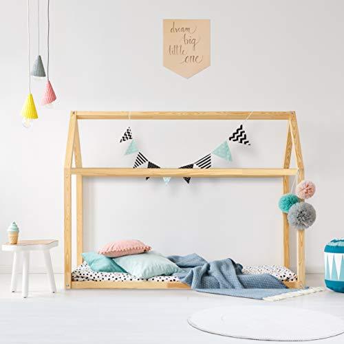 Cama montessori Casita de madera para colchón de 70 x 140 cm