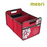 meori Faltbox Large in Rot mit Blumen – Stabile Klappbox L mit Griffen - die perfekte Allzweck Aufbewahrungslösung – Tragkraft bis 30 kg - A100097 - 32 x 50 x 27,5 cm