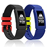 Fitbit Ace 2 Bands for Kids Silicone Bands for Fitbit Ace 2 Waterproof Soft Resilient Sport Adjustable Replacement Wristbands Activity Tracker for Kids (Black+Blue)