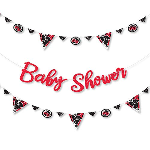 Big Dot of Happiness Happy Little Ladybug - Baby Shower or Birthday Party Letter Banner Decoration - 36 Banner Cutouts and Baby Shower Banner Letters