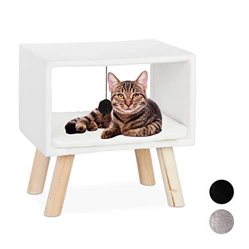 Relaxdays, weiß Katzenhocker, Haustierhocker für Katzen, Spielball & Kissen, Katzenhöhle Hocker, 41 x 40,5 x 30,5 cm, 30,5 x 40,5 x 41 cm