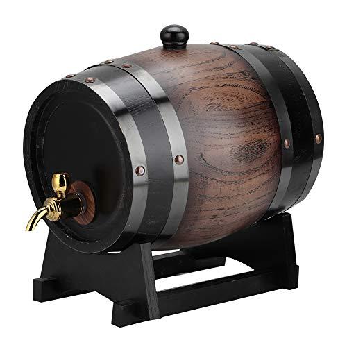Barril de vino 3L Madera de roble vintage Barril de vino negro Madera de roble Vino Brandy Contenedor de whisky Bourbon Tequila Barril de roble Cubo de vino con grifo dispensador
