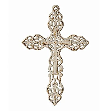 Stonebriar Decorative Distressed White Cast Iron Wall Cross with Hanging Loop, Celtic Inspired Design, Religious Decoration for the Living Room, Bedroom, Nursery, or Any Room in Your Home