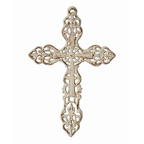 Stonebriar SB-5793A Decorative Distressed Cast Iron Wall Cross with Hanging Loop, 13 Inch, Worn White