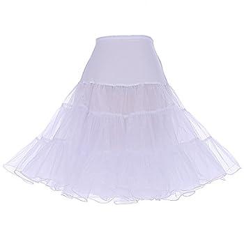 DRESSTELLS Women s Vintage Rockabilly Petticoat Skirt Tutu 1950s Underskirt White M