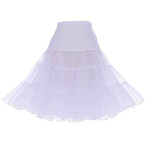 DRESSTELLS 1950 Petticoat Reifrock Unterrock Petticoat Underskirt Crinoline für Rockabilly Kleid White L