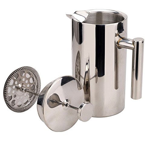 ZZM Presse à thé et à café à double paroi ZZM | Cafetière isotherme en acier inoxydable Pot & Maker | Garde le café ou le thé infusé chaud (1000 ml/34 Oz)