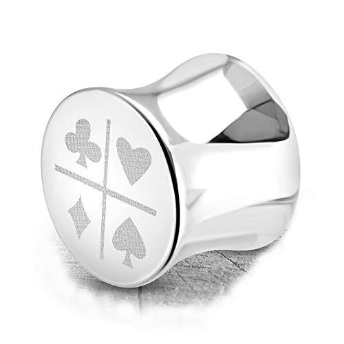 BlackAmazement Dilatador de acero inoxidable 316L, con diseño de cartas, color símbolo pik, a cuadros, corazón, cruz, póquer, 10 mm, plateado, para hombre y mujer