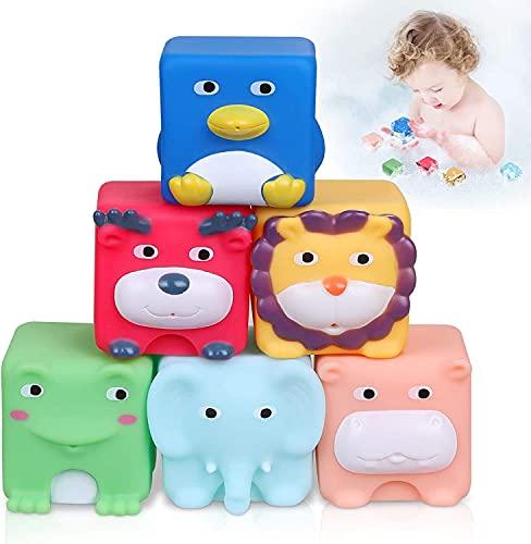 Lictin Badespielzeug 6PCS Badewannenspielzeug, Wasserspielzeug Badewanne Spielzeug Kinder Set Glühen Niedlichem Tier Ballade, Babybadewanne Spielzeug mit Knopfbatterie