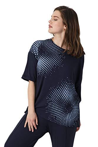T-Shirt für Damen, groß, Blau / Marineblau auf der Seite, einfarbig, mit Siebdruck JeanMarcPhilippe Gr. 52-54, Blau/Marineblau