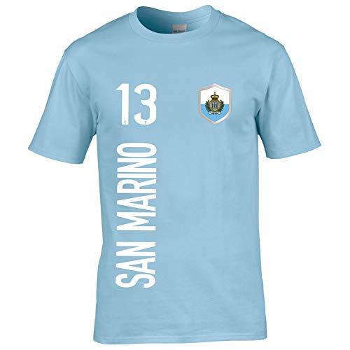 FanShirts4u Kinder Fanshirt Trikot Jersey SAN Marino T-Shirt inkl. Druck Wunschname u. Wunschnummer EM WM (7/8 Jahre 122-128 cm, SAN Marino/Hellblau)
