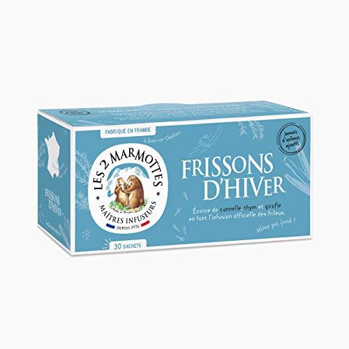 "Les 2 Marmottes - Infusion ""Frissons d'Hiver"" 30 sachets - Thym, cannelle & Girofle - Made In France - Sans arômes ajoutés"