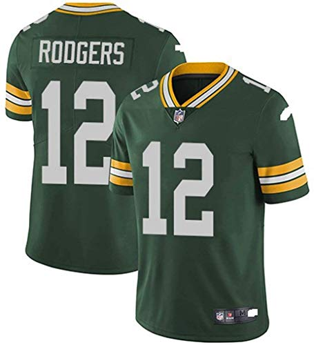 Xyy T-Shirt NFL Football Jersey Green Bay Packers Aaron Rodgers # 12, American Football Sportkleidung, Casual T-Shirt Kleidung, Stickerei Fans Version Fan-T-Shirts (Color : Green, Size : 3XL)