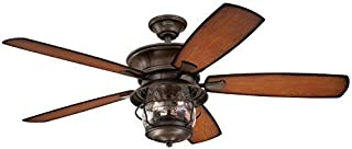 Westinghouse 7800000 Brentford Indoor/Outdoor Five-Blade Reversible Ceiling Fan with Clear Seeded Glass, 52-Inch, Aged Walnut Finish - 2 Pack