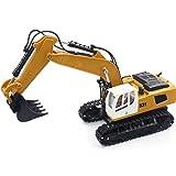 IIIL Excavadoras Construcción Vehículos Controlados Radio RC, 9 Canales 2.4Ghz Raspador Juego Completo Control Remoto Cable Carga Batería