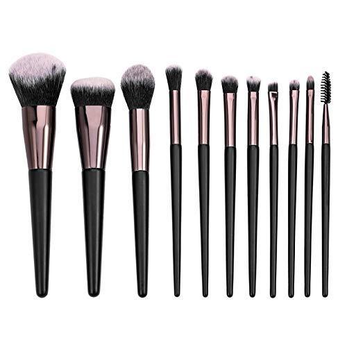 Lot de 11 pinceaux de maquillage en fibre bicolore noir et blanc, résistant à l'usure et durable en tube d'aluminium or rose, poignée confortable, noir