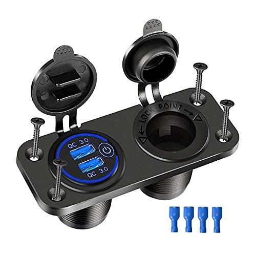 WANGYOU Toma de Cargador de automóvil con Interruptor táctil Cigarrillo Encendedor Splitter Divisor Dual 12V USB Cargador Impermeable Toma de Corriente Adaptador Lasting (Color Name : Blue Set)