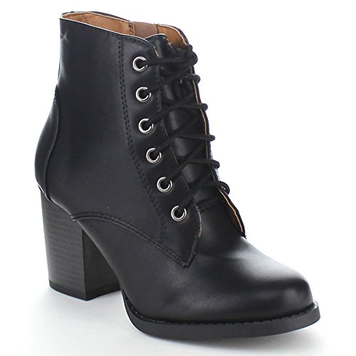Soda Women's Korman Faux Leather Lace Up High Chunky Heel Ankle Booties, Black, 9 M US