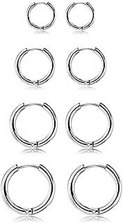 HSJX 4 Pairs Stainless Steel Small Hoop Earrings Clasp Hypoallergenic Huggie Earrings 6 /8/10/12mm 316L Small Hoop Earring...