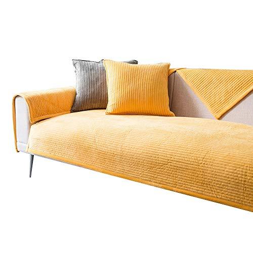HXTSWGS Sofá de Felpa Toalla Funda de sofá Cojín Funda de sofá de Esquina para Sala de Estar Fundas Sofás con Chaise Longue-Yellow_W90xL120cm