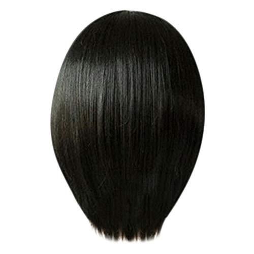 URSING Nouvelle Perruque Femme Raide Droite Moyenne 25cm (Noir)