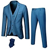 YND Men's Slim Fit 2 Button 3 Piece Suit Set, Blazer Jacket Vest Pants and Tie, Solid Wedding Dress Tux and Trousers Light Blue