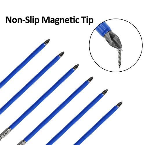 Amgiimor 10Pcs Magnetic Phillips Screwdriver Bits Set 6 Inch, 2 Non-Slip Cross Head Electric Screwdriver Bits Set 1/4