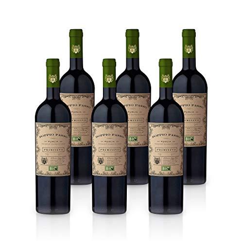 Doppio Passo Bio Primitivo Puglia IGT 2019 - CVCB | halbtrockener Rotwein | italienischer Bio Wein aus Apulien | 6 x 0,75 Liter
