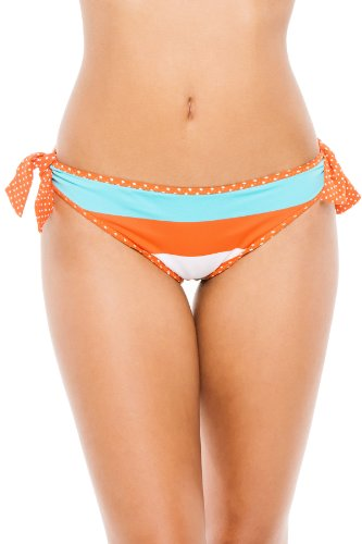 Tommy Bahama Women's Reversible Tie Side Hipster Bikini Bottom Ginger/Capri/Cave Multi XS