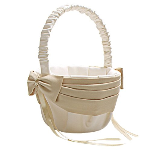Vivivalue Flower Girl Basket Wedding Collection Traditional Ivory
