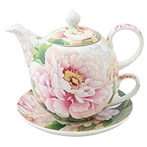 Grace Teaware Porcelain 4-Piece Tea For One (Golden Empire Pink Peony)