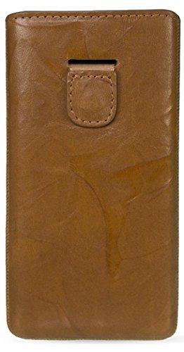 MediaDevil Sony Xperia Z2 Lederhülle (Cognac mit braunen Nähten) - Artisanpouch Hülle aus echtem europäischen Leder mit Ausziehlasche