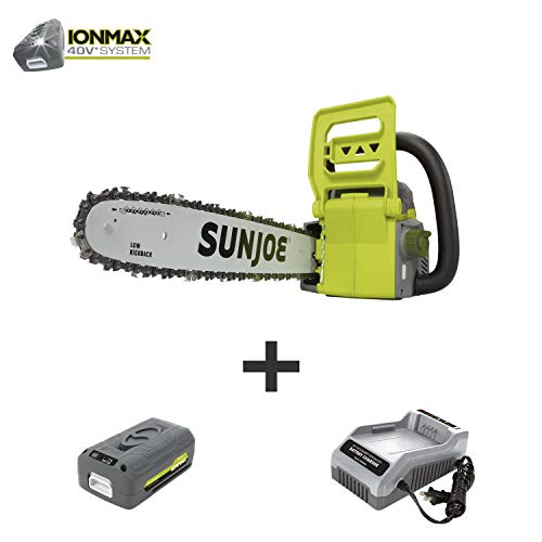 Sun Joe ION16CS 16-Inch 4-Amp 40-Volt Cordless Chain Saw, Kit (w/ 4.0-Ah Battery + Quick Charger)