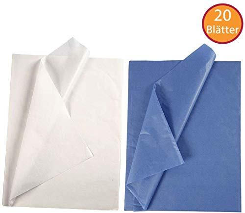 YooKreativ SPARPACK ❗ Seidenpapier Set, Weiß und Blau, Blatt 50x70 cm. 20 Blätter, Transparentes Seidenpapier zum Basteln und zur Dekoration, Seidenpapier Weiß, Seidenpapier Blau