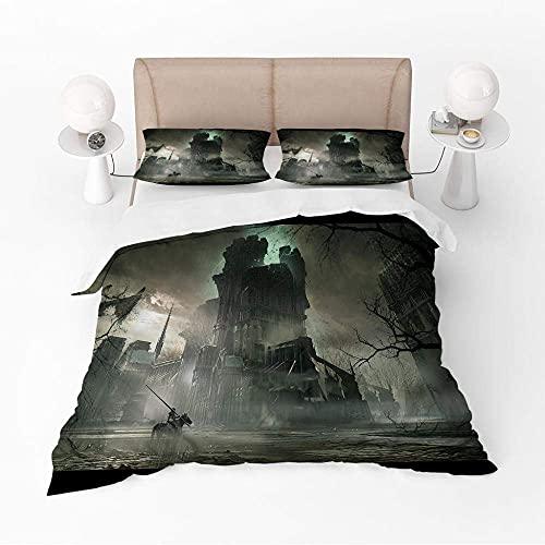 3D-sängkläder hans och hennes sängveck super mjuk enkel skötsel dubbel (200 x 200 cm), 3 delar set 1 st påslakan + 2 delar matchande örngott