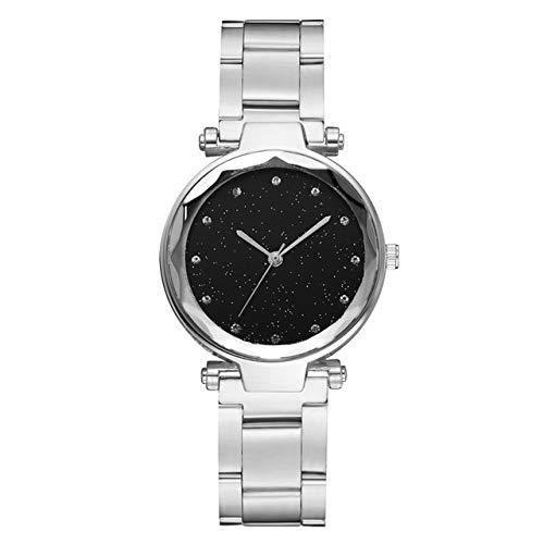 YGMOTO SVA AYSMG 2 PCS Star Steel Strip Lega Quarzo Trend Watch (Nero) (Color : Silver)
