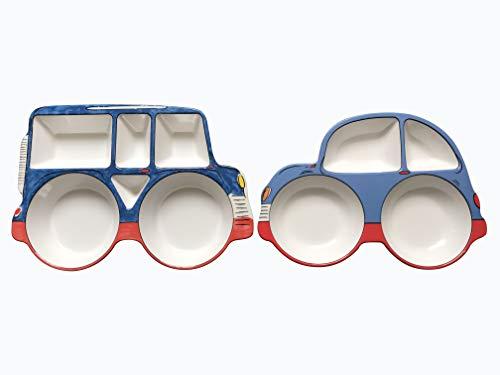 [ari mes] 2 Car Shaped Plates Set BPA Free Eco-Friendly Food Level Dinnerware Toddler Children Kids Snack Meal Plate Feeding Picky Eater Boys