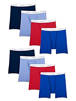 Fruit of the Loom Men s Active Cotton Blend Lightweight Boxer Briefs Assorted Colors  8 Pack  Large