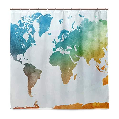 BIGJOKE Duschvorhang, Weltkarte, schimmelresistent, wasserdicht, Polyester, 12 Haken, 183 x 183 cm, Heimdekoration