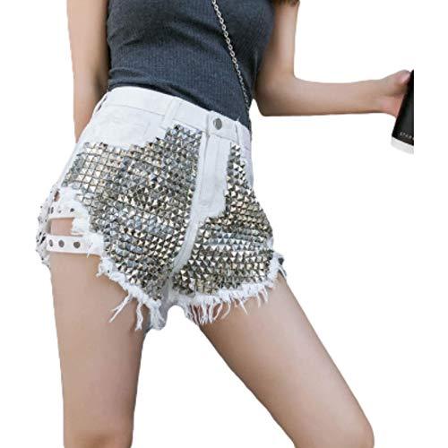 Zestion Pantalones Cortos Personalizados para Mujer Pantalones de Borla con Agujeros Rasgados de Diamantes de imitación de Moda Pantalones Cortos de Moda de Europa y América Ajustados Small
