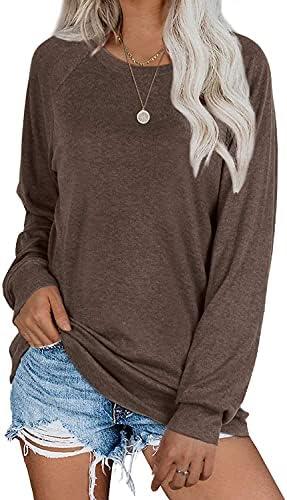Womens Tunic Tops Casual Comfy Crew Neck Sweatshirt Classic Long Sleeve Shirts Top S-3XL
