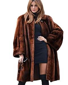 Aox Women Wintermode Mantel Warm Verdicken Kunstpelz Jacke Lady Luxury Plus Größe Parka Windjacke Top (Braunes Kunstfell, 42-44)