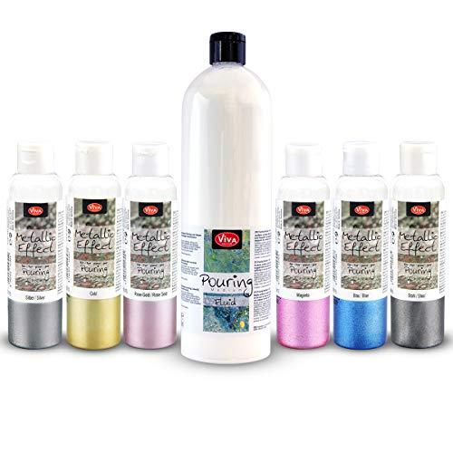 Viva Decor Pouring Medium Metallic Acrylfarben Set Pouring Medium & acryl Farbe für Leinwand & Staffelei. Als Gieß-Farbe für Puddle-Pouring Dirty-Pouring Flip Cup. Gieß-Farbe, Pouring-Farbe