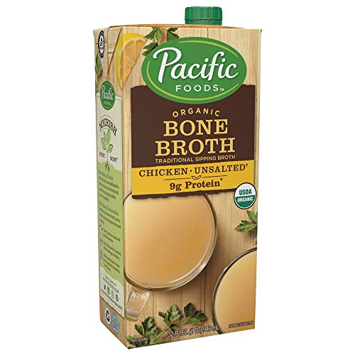 Pacific Foods, Organic Bone Broth, Original Chicken by Pacific Foods 32oz Cartons, 12-Pack Keto Friendly