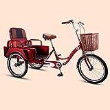 YZ-YUAN Triciclo para Deportes al Aire Libre 2 en 1, Bicicletas de Tres Ruedas con Asiento Plegable y Canasta de Gran Capacidad, triciclos de pasajeros y de Carga, para Personas Mayores, Mujeres, ho
